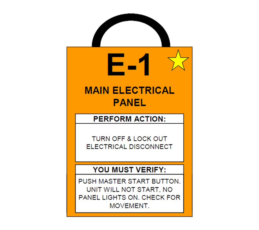Main Electrical Panel E-1 Lockout Tag